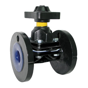 DIAPHRAGM WEIR TYPE HARD RUBBER LINED/ DUCTILE IRON/ FLANGED PN10/16-0