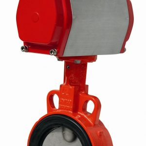PNEUMATIC DOUBLE ACTING ACTUATED GGG40 EUROPEAN WAFER BUTTERFLY VALVE EPDM LINER-0